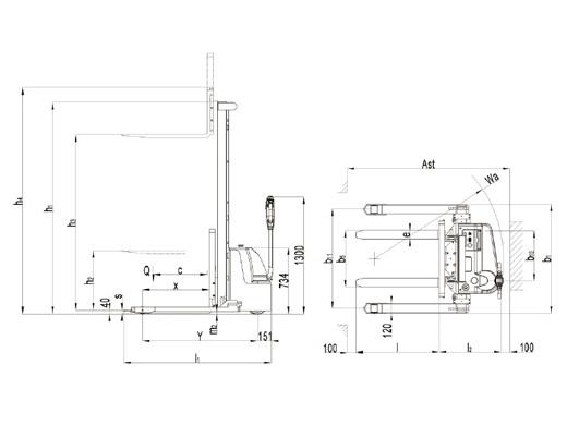 Гидравлическая тележка(Рохля) noblelift ECL 1029