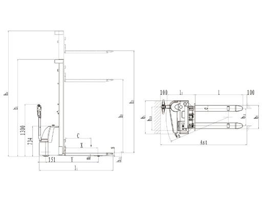 Гидравлическая тележка(Рохля) noblelift ECL 1029 M